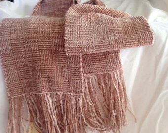 Long Handwoven Rayon Chenille Scarf