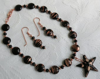 Midnight Star Glass Black and Copper Necklace and Earring Set