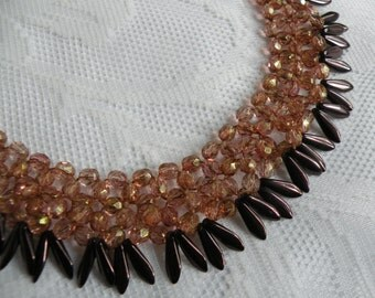 Copper Bronze Czech Glass Statement Necklace