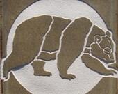 4x4 Grizzly Bear - Etched Porcelain Tile - Coaster - SRA