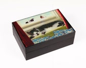 Sleeping Cat Wooden Keepsake Box, Memory Box, Pigeon Art, Treasure Box, Cat Memorial, Tabby Cat, Cat Lover Gift, Deborah Julian