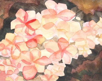 SALE! floral watercolor painting abstract, spring summer, autumn, pink, brown, yellow, original watercolor painting home decor