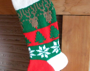 Christmas Stocking Knitted With Lining With Reindeer And Snowflakes