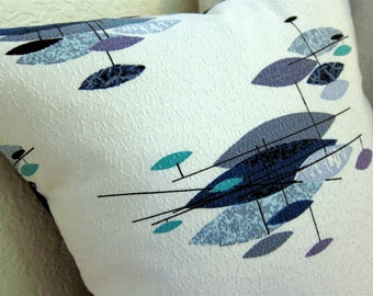 "Mid Century Modern Pillow Cover - Vintage Barkcloth - Jetsons Blues,Turquoise, Plum 17"" x 17"" pillow cover for 18"" insert"