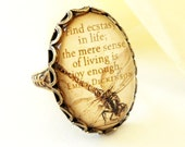 Steampunk Dragonfly Ring- Emily Dickinson- Art Ring- Adjustable Ring- Antique Brass Finish