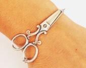 Steampunk Scissor Bracelet- Sterling Silver Ox Finish