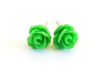 Tiny Green Rose Stud Earrings- Surgical Steel or Titanium Posts- 7mmBlack Friday Sale 20% Off