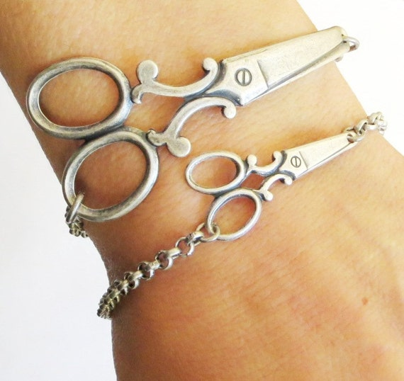 Small Steampunk Scissor Bracelet- Sterling Silver Ox Finish