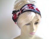 Red Rose Head Wrap, Red White Gray Elegant Head Wrap, Dark Grey and Red Roses Headwrap, Red Rore Headpiece
