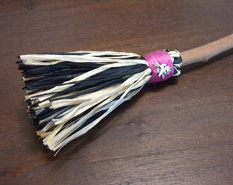 Glam or Goth Witch Broom in Magenta with a Silver Rose Charm