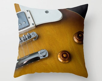 Electric Guitar Pillow Cover, Musician Man Cave Decor, Throw Cushion for Recording Studio Lounge Sofa, Gift for Artists, Guitarist Father