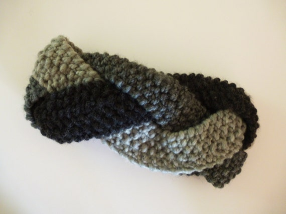 Grey Handknitted Braided Headband