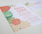 DIY printable, illustrated floral Wedding Invitation Suite - Tara design