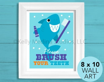 Brush Your Teeth Shark Bathroom Nursery Art Print, 8 x 10, Baby Children Wall Art Decor, Brush Your Teeth Wall Art by Kelly Medina