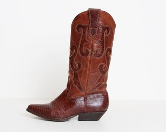 Vintage 90s Brown Leather COWBOY BOOTS / 1990s Lizard Skin 5.5 35.5