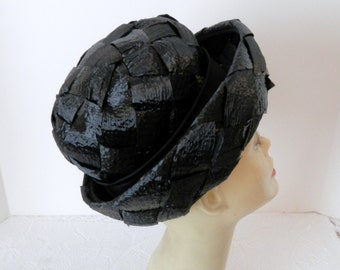 Vintage Black Straw Kutz Hat- Designer Black Straw Hat - 1950-60 Straw Hat