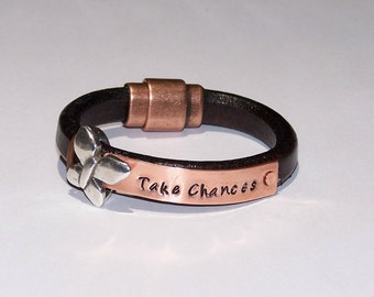 Personalized Licorice Leather Bracelet - Hand Stamped - Distressed Brown Leather Bracelet - Phrase - Saying - Inspirational