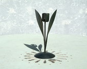 Mid century black matt metal finish flower candle holder with two leaves