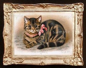 Vintage Cat Miniature Dollhouse Art Picture 1022