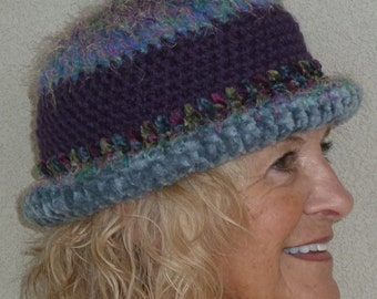 Women Fashion / Unique Blue and Purple Hat / Ski Accessories  / Colorado Clothing /  Hats By Anne