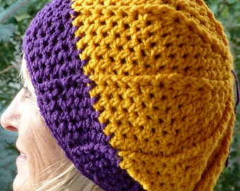 Women's Fashion, Crochet Winter Hat, Team Hat, Purple and Gold Hat