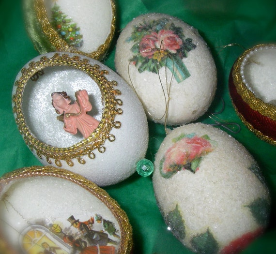 Six Egg Shell Ornaments Vintage Handmade By GrandmaDinkAndMe