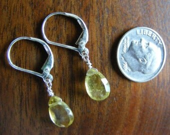 Sweet Bright Golden Sun Yellow Tourmaline Briolette Drop Earrings on Sterling Earwires