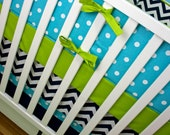 Baby Boy Crib Bedding, Nursery Bedding, Aqua, Lime, Navy, Chevron Crib Skirt, Polka Dot Crib Bumpers