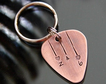 Custom Guitar Pick in Handstamped Copper - Perfect for Weddings and Anniversaries