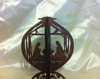 3D Standing Nativity Scene - Red Oak