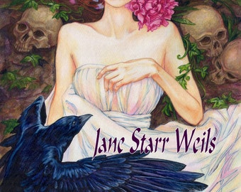 Crow and Pink Peonies by Jane Starr Weils