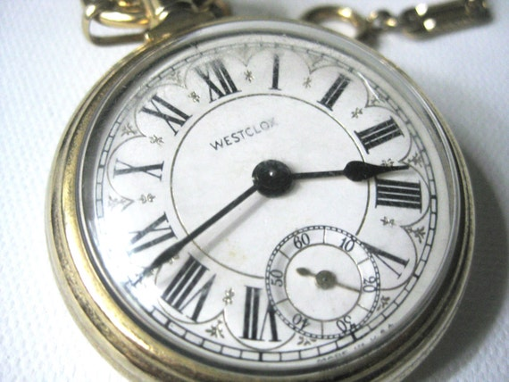 FREE SHIPPING Westclox Gold Tone Pocket Watch / Watch Fob WORKING Watch with Steam Train on Back
