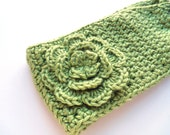 Ladies Ear Warmer Headwrap in Pistachio Green Ready to Ship RTS - JessikiReeve