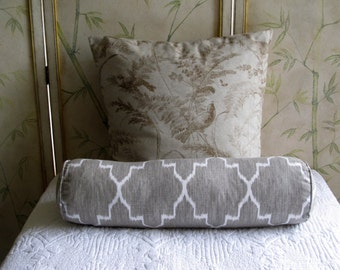 Ikat Linen/Gray on white Long Bolster Pillow 7x27
