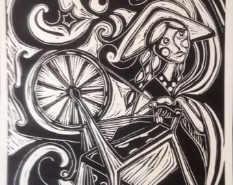 Frigg. Goddess of the Sky Spinning her Loom