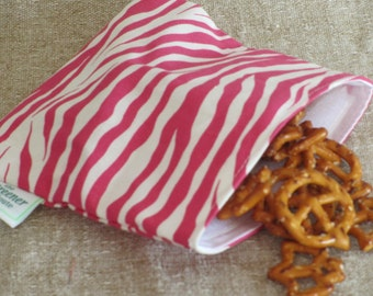 Reusable Snack Bag - Pink Zebra