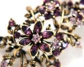 Vintage Brooch Amethyst Coro Flower Bouquet