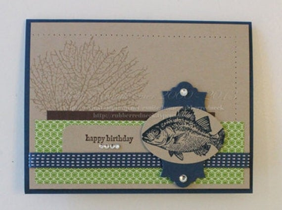 Stampin up handmade birthday fish card by the tide for Four man rubber life craft