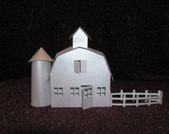 DIY barn with silo and fence from the village ledge series