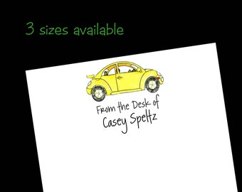 Personalized VW bug Notepad - Volkswagen Stationery ~ 3 sizes