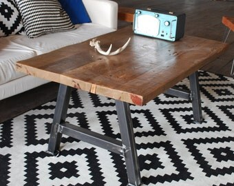 Reclaimed Wood Rustic Modern Architect Coffee Table