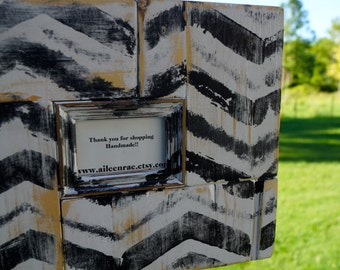 Distressed Black and White Painted Chevron Picture Frame