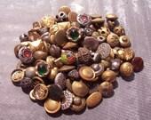 VINTAGE Metal BUTTONS One Hundred Tiny Antique Victorian Metal Buttons Brass Filigree Twinkle Assorted Lot Vintage Button Destash (L175)