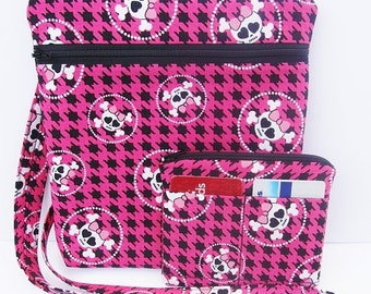 Hip Bag Purse Cross Body Handbag Sling Purse Shoulder Bag with matching Coin Purse made with Girly Skull Fabric
