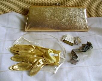GOLD FOIL CLUTCH Purse Handbag / original matching Metallic Gloves / Box of Gold Avon Makeup / Rainbonnet vintage lot 1950s 1960s Madmen