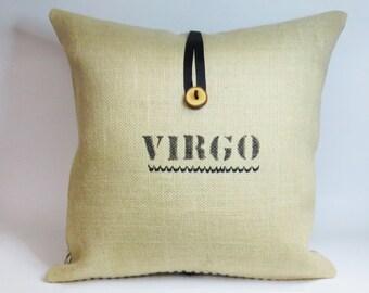 Burlap Zodiac Throw Pillow Cover with Custom Zodiac Personal Label Astrology
