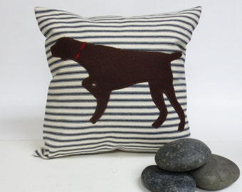 German Shorthair Pointer Silhouette Pillow - Your Choice of Ticking Stripe Pillow - Decorative Accent Throw Pillow Cushion, Dog Pillow,