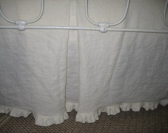 Washed Vintage White Linen Tailored Crib Skirt-Ruffled Hem Detail