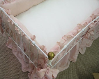 "Ballet  Pink Washed Linen Crib Bedding- 2"" Ruffled Bumpers-Sash Ties-Zip Closures-Gathered Storybook Style Crib Skirt"