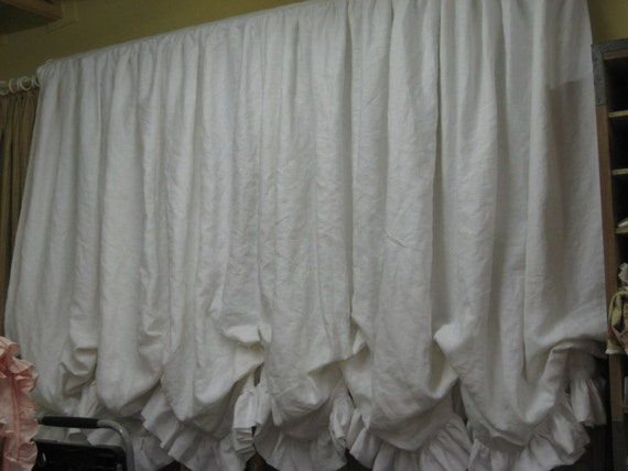 Linen Shades For Raegan White Ruffled Balloon By